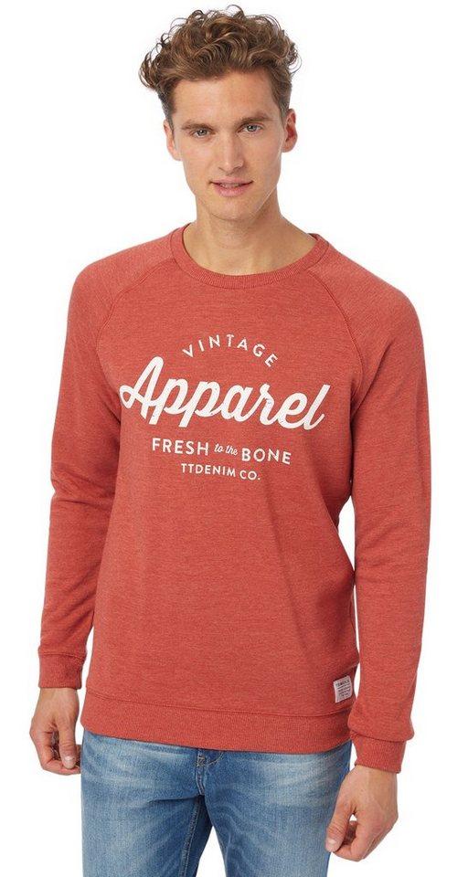 TOM TAILOR DENIM Sweatshirt »Sweater mit Schriftzug-Print« in burned red slate