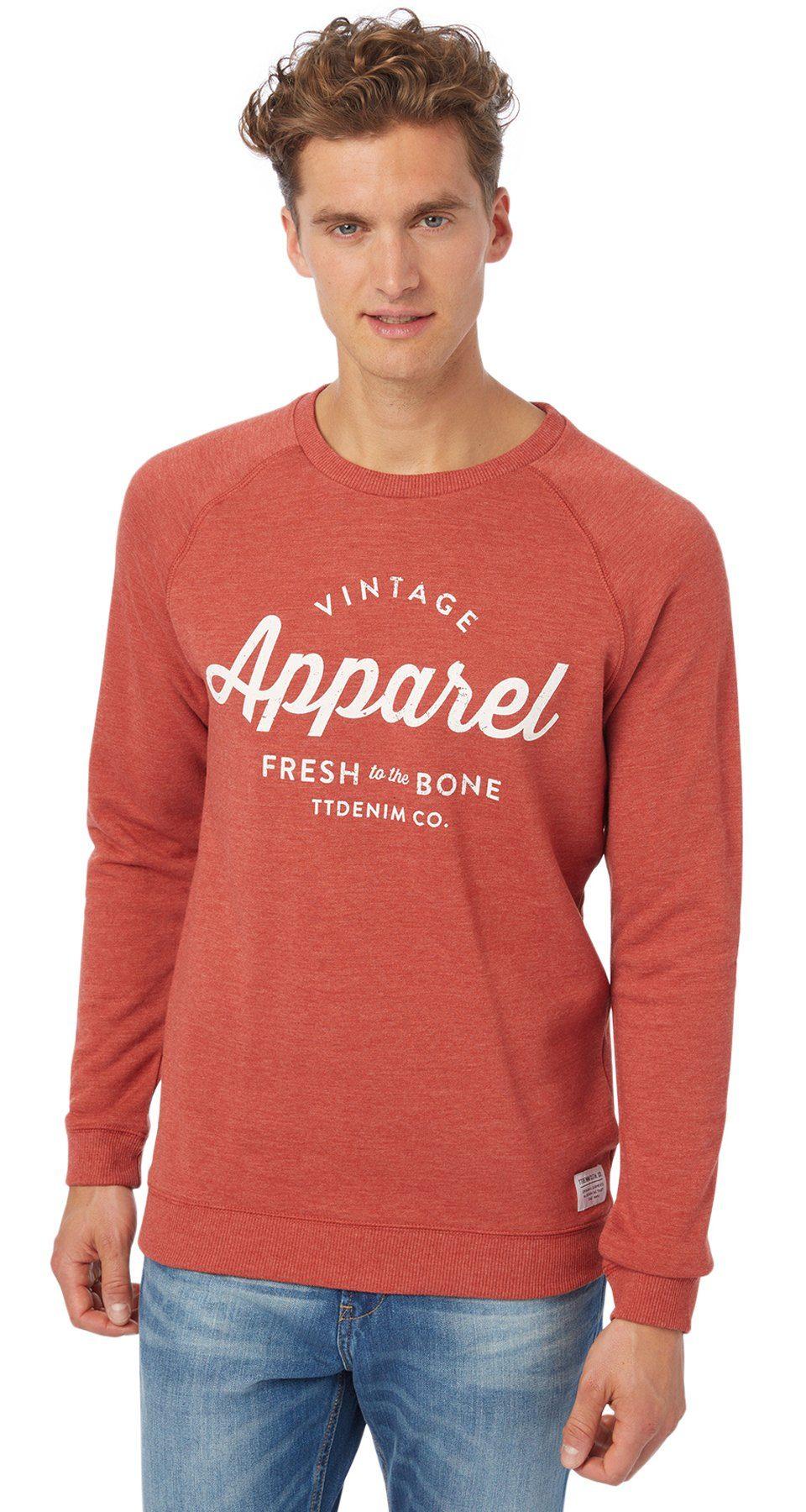 TOM TAILOR DENIM Sweatshirt »Sweater mit Schriftzug-Print«