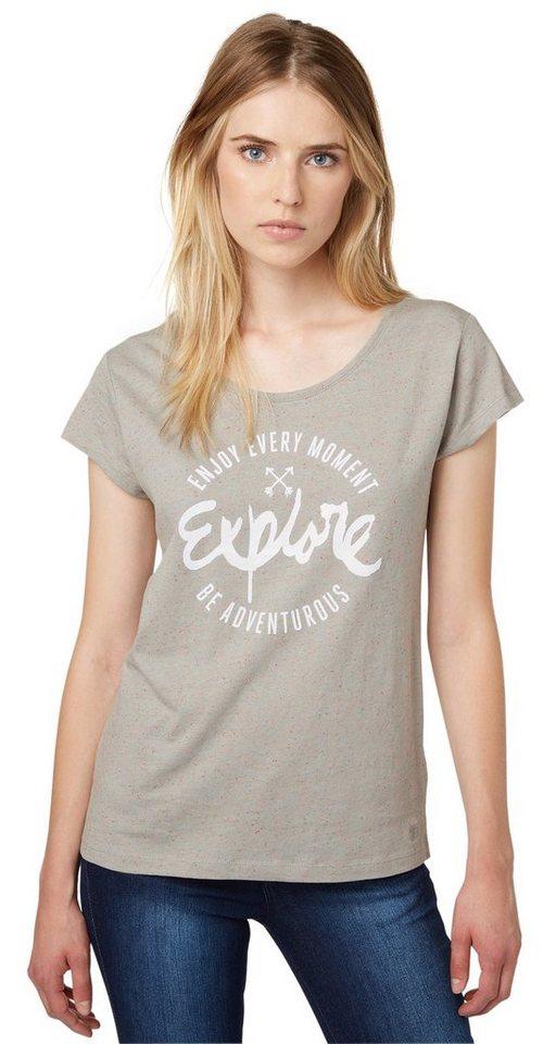 TOM TAILOR DENIM T-Shirt »T-Shirt mit Print« in cement grey melange