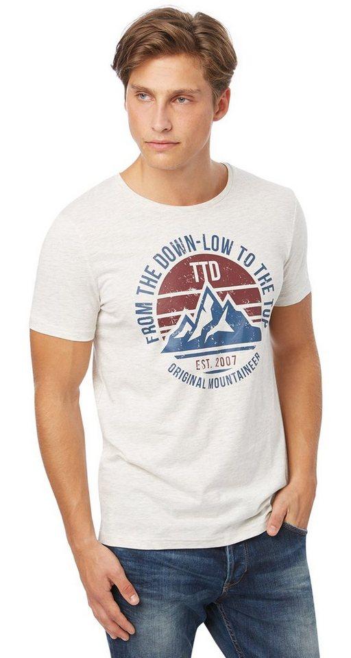 TOM TAILOR DENIM T-Shirt »T-Shirt mit Berg-Print« in ecru melange