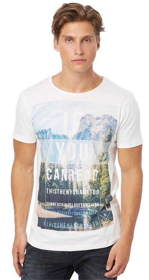 TOM TAILOR DENIM T-Shirt »T-Shirt mit Collagen-Print« in slightly creamy