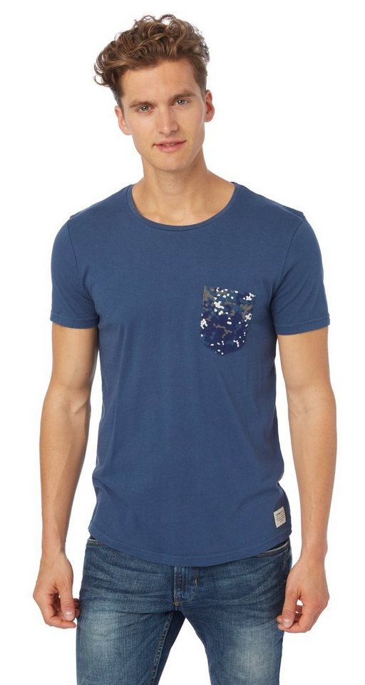 TOM TAILOR DENIM T-Shirt »T-Shirt mit gemusterter Tasche« in dark duck blue