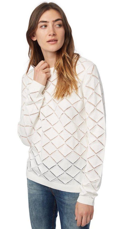 TOM TAILOR DENIM Pullover »Ajour-Pullover« in off white