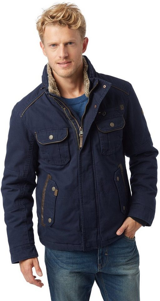 TOM TAILOR Jacke »Canvas-Jacke« in knitted navy