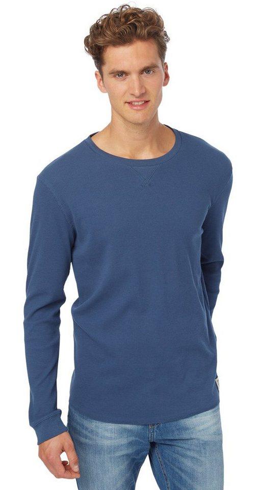 TOM TAILOR DENIM T-Shirt »strukturierter Sweater« in dark duck blue