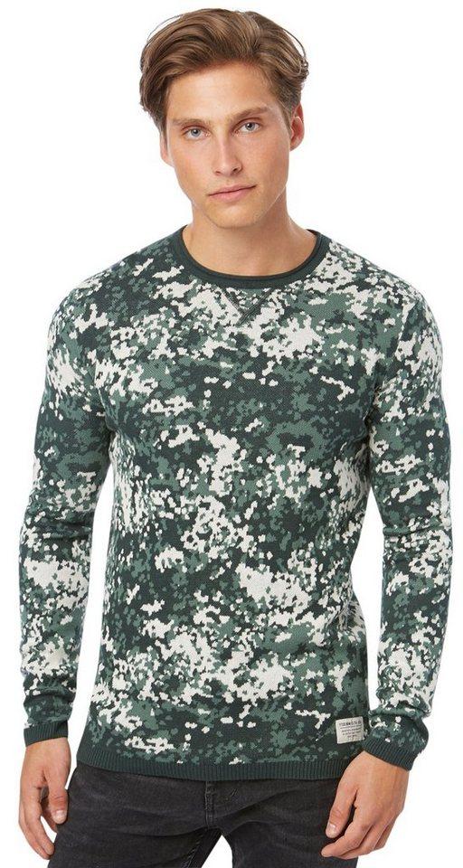 TOM TAILOR DENIM Pullover »Pullover mit Muster« in light spruce green