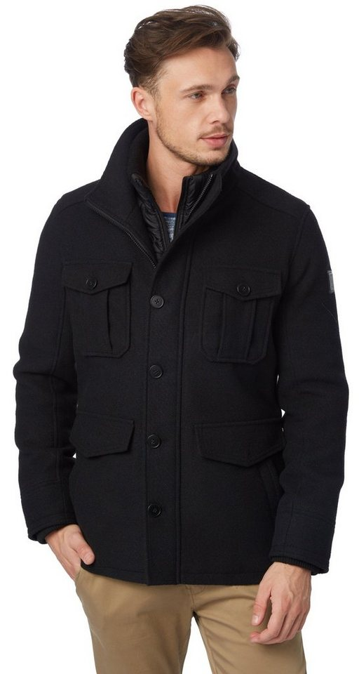 TOM TAILOR Jacke »warme Jacke mit Wollanteil« in black
