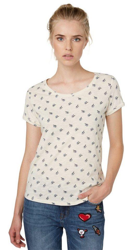 TOM TAILOR DENIM T-Shirt »geprintetes T-Shirt mit Spruch« in vintage beige