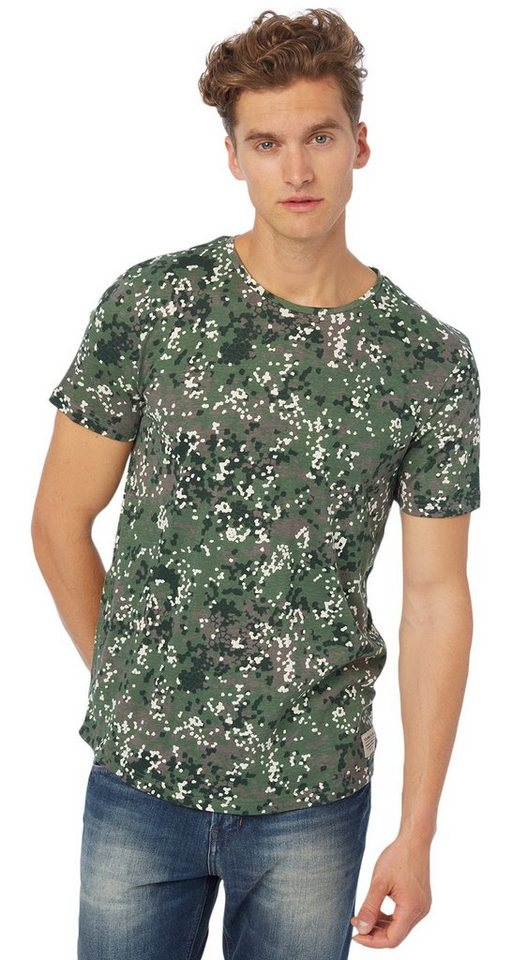 TOM TAILOR DENIM T-Shirt »Allover-Print T-Shirt« in light spruce green