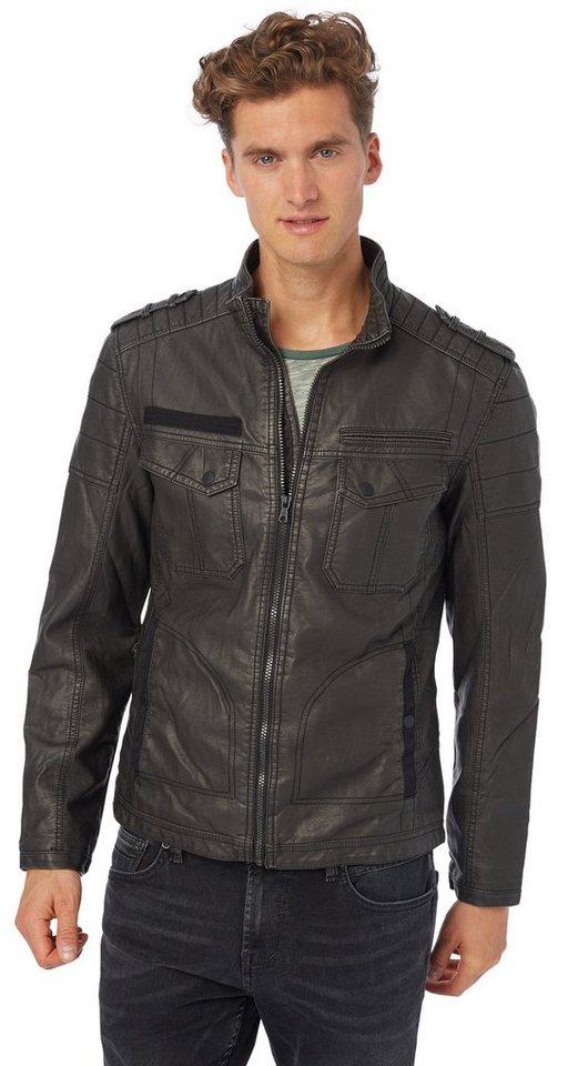 TOM TAILOR DENIM Lederjacke »leather look military jacket« in black
