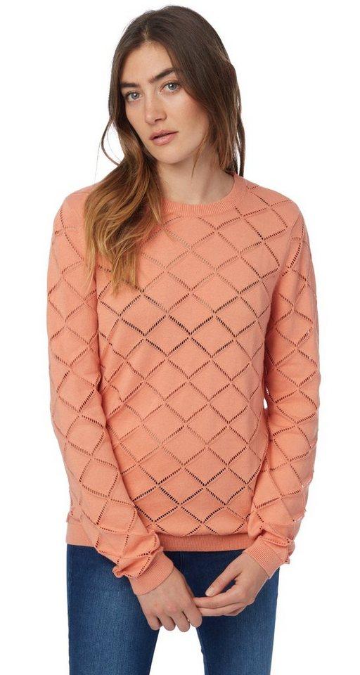 TOM TAILOR DENIM Pullover »Ajour-Pullover« in sunset rose
