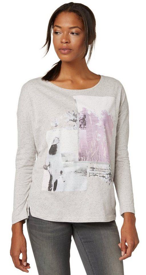 TOM TAILOR T-Shirt »wild flowers print shirt« in bleached grey melang
