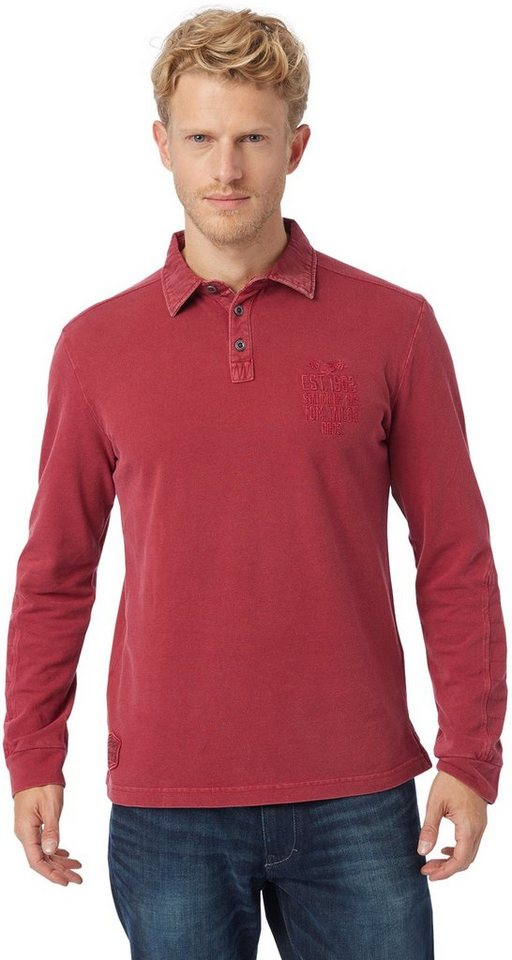 TOM TAILOR Poloshirt »polo with back artwork« in ivy red