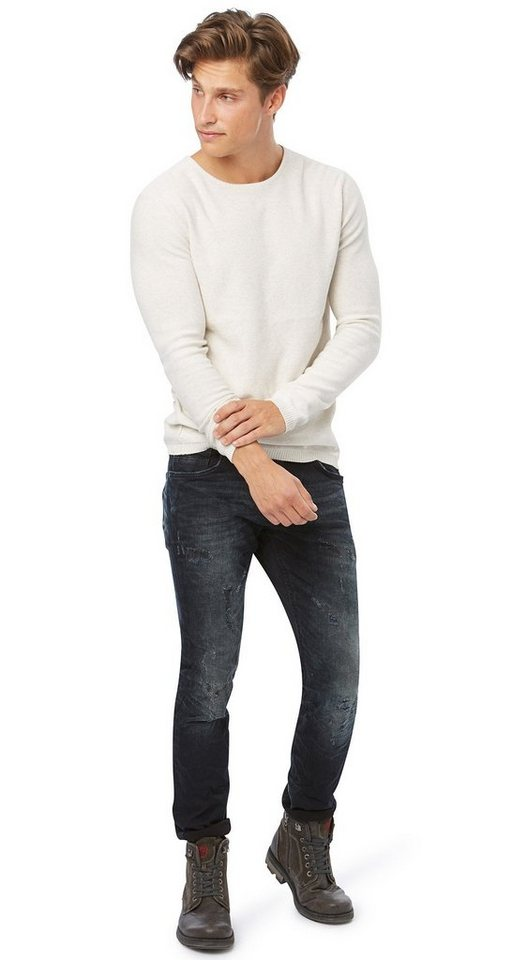 TOM TAILOR DENIM Jeans »Used-Jeans mit Destroys« in destroyed dark stone