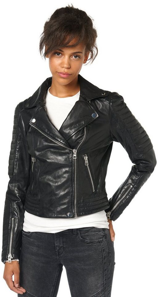 TOM TAILOR DENIM Lederjacke »coole Biker-Jacke« in black