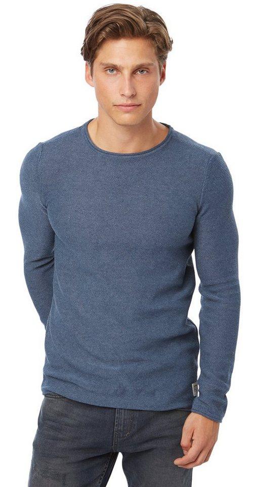 TOM TAILOR DENIM Pullover »Pullover mit Struktur« in dark duck blue
