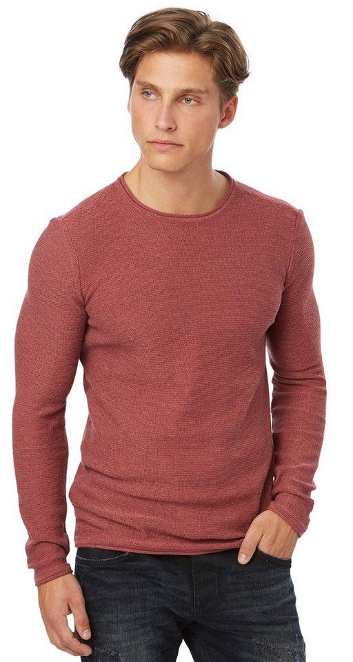 TOM TAILOR DENIM Pullover »Pullover mit Struktur« in indian red