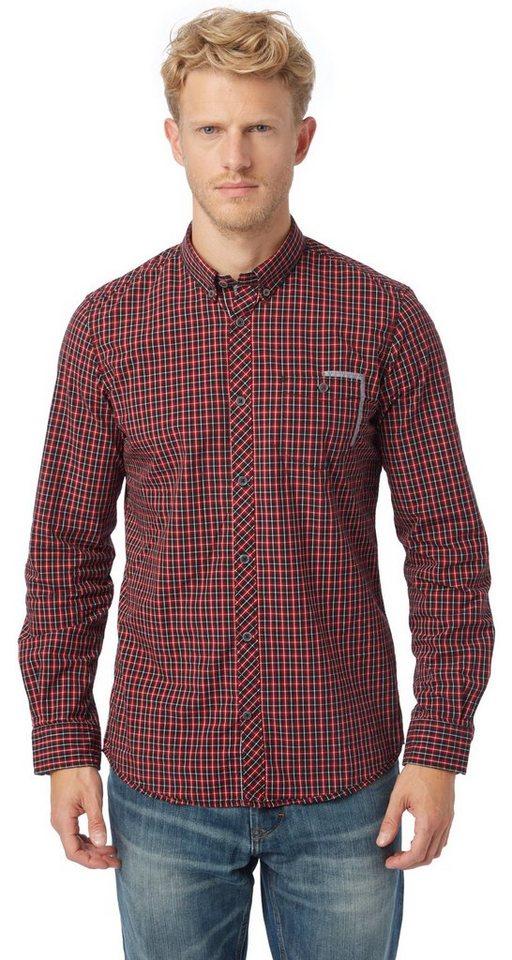 TOM TAILOR Hemd »kariertes Button-Down-Hemd« in ivy red