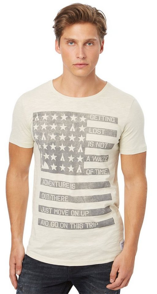 TOM TAILOR DENIM T-Shirt »T-Shirt mit Used-Print« in soft beige solid