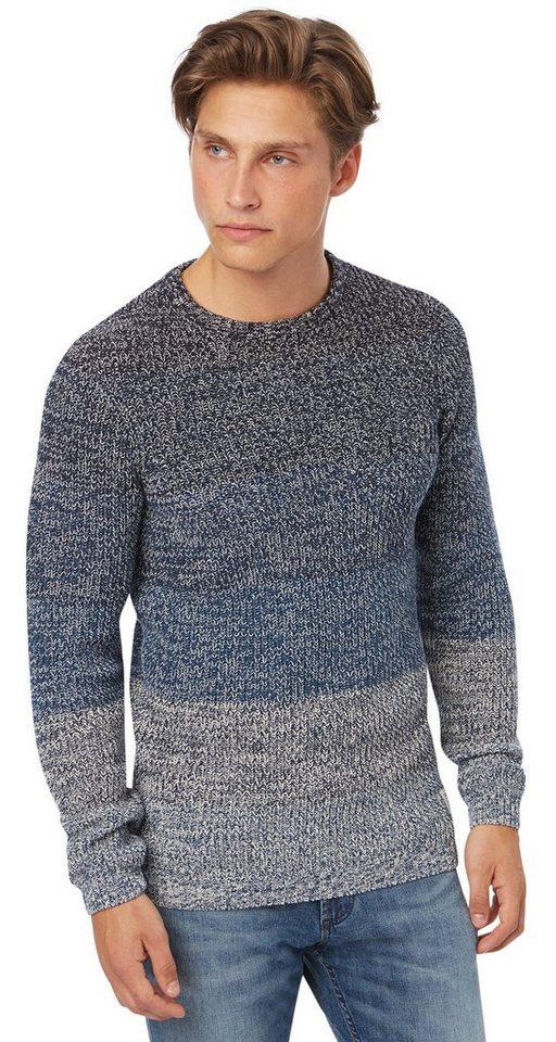TOM TAILOR DENIM Pullover »farblich abgestufter Pullover« in night sky blue