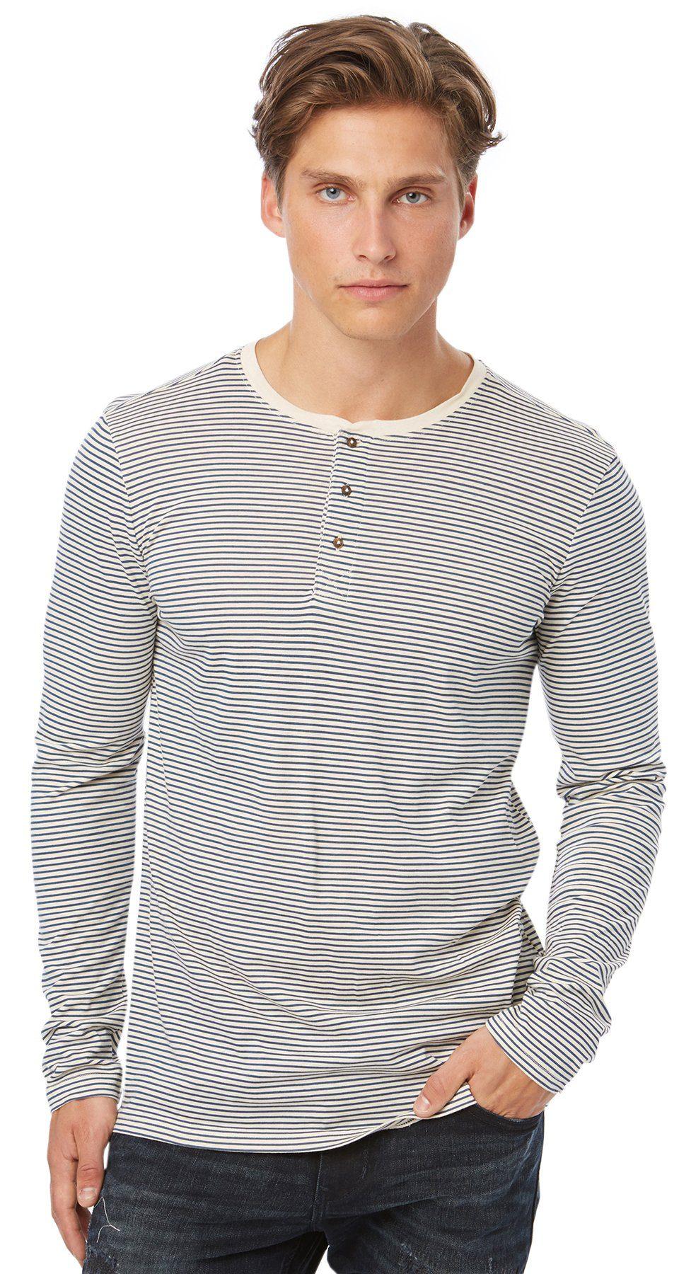 TOM TAILOR DENIM T-Shirt »gestreiftes Henley-Shirt«