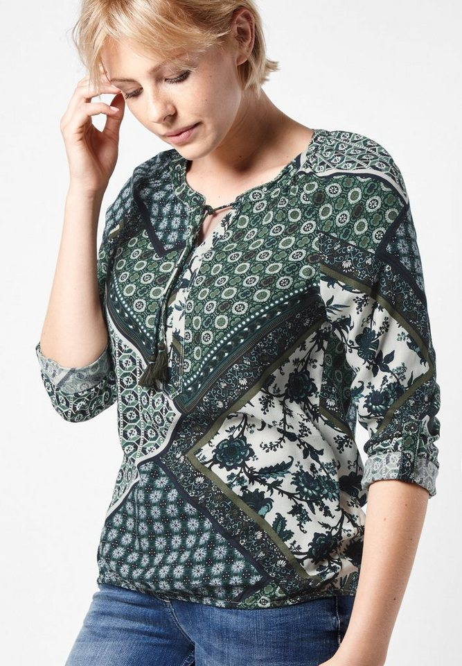 CECIL Bluse im Patchworkprint in deep olive