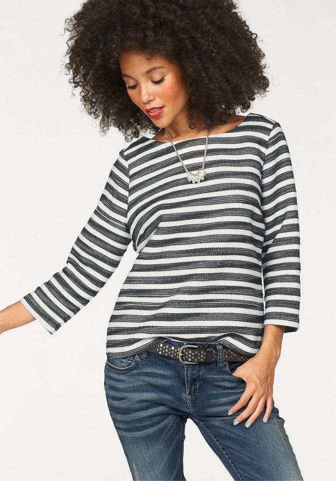 Garcia Sweatshirt in Ringeloptik in schwarz-weiß
