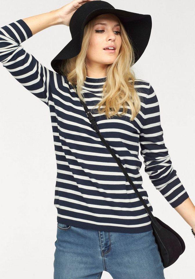Vero Moda Streifenpullover »GLORY STRIPE« mit Turtleneck in marine-weiß