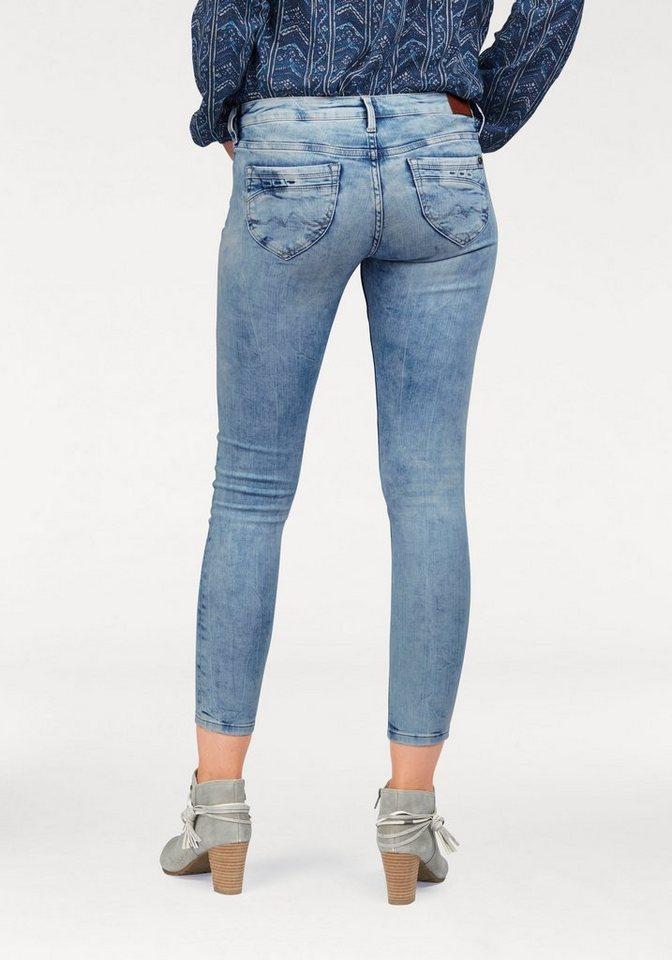 Pepe Jeans Slim-fit-Jeans »RIPPLE« in Knöchel-Länge in blue-used