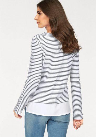 Boysen's Langarmshirt, im Layering-Look mit Streifen