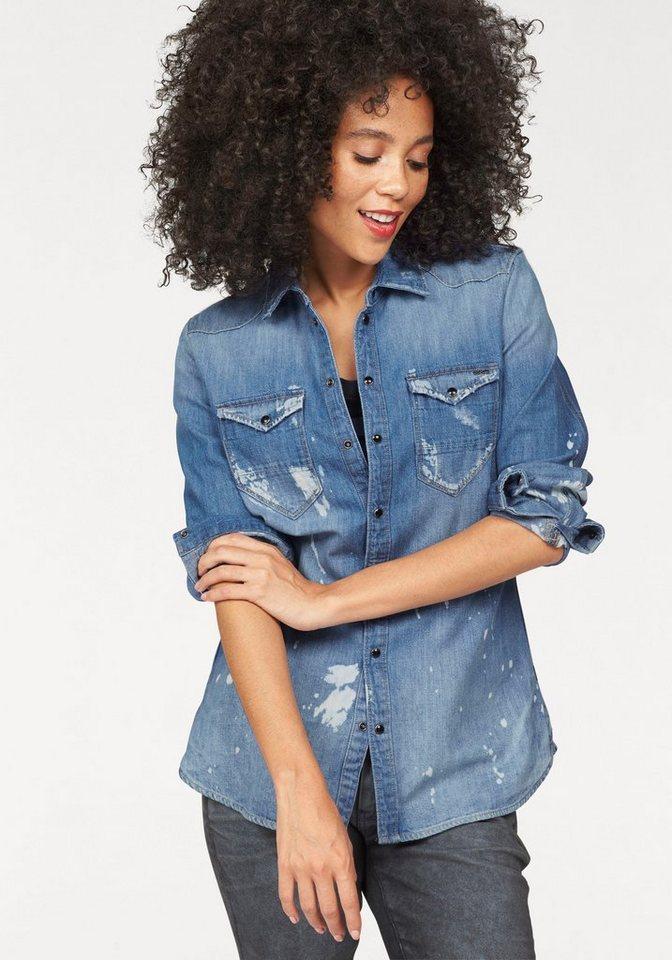 G-Star Jeansbluse »Tacoma Straight« im Vintage-Denim-Look in medium-blue