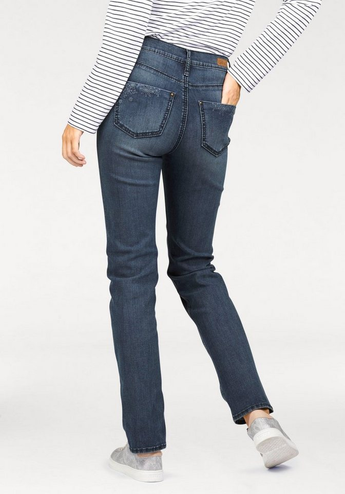 Paddock's Gerade Jeans »Kate Saddle Stitch« gerade geschnitten in mid-blue-used