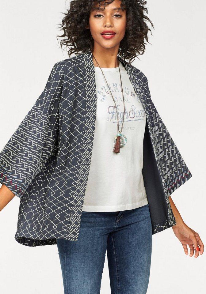 Pepe Jeans Sweater »Luca« im Kimonolook in anthrazit-weiß-gemustert