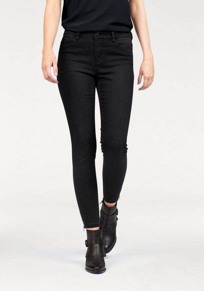 Vero Moda Röhrenjeans »SEVEN ANKLE ZIP« in black-denim
