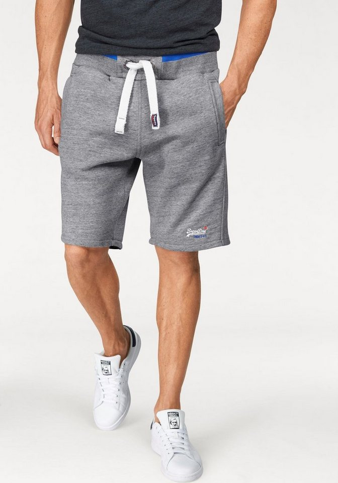 Superdry Sweatbermudas »ORANGE LABEL TIPPED SHORT« in hellgrau-meliert