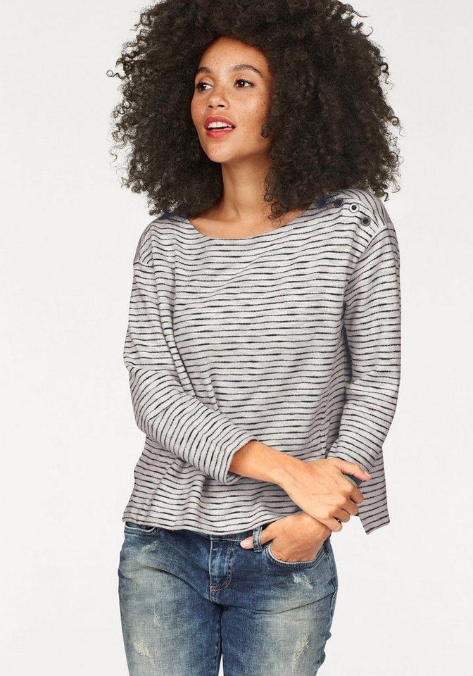 LTB Sweatshirt »Dowatas« mit Knopfleiste an der Schulter in creme-schwarz