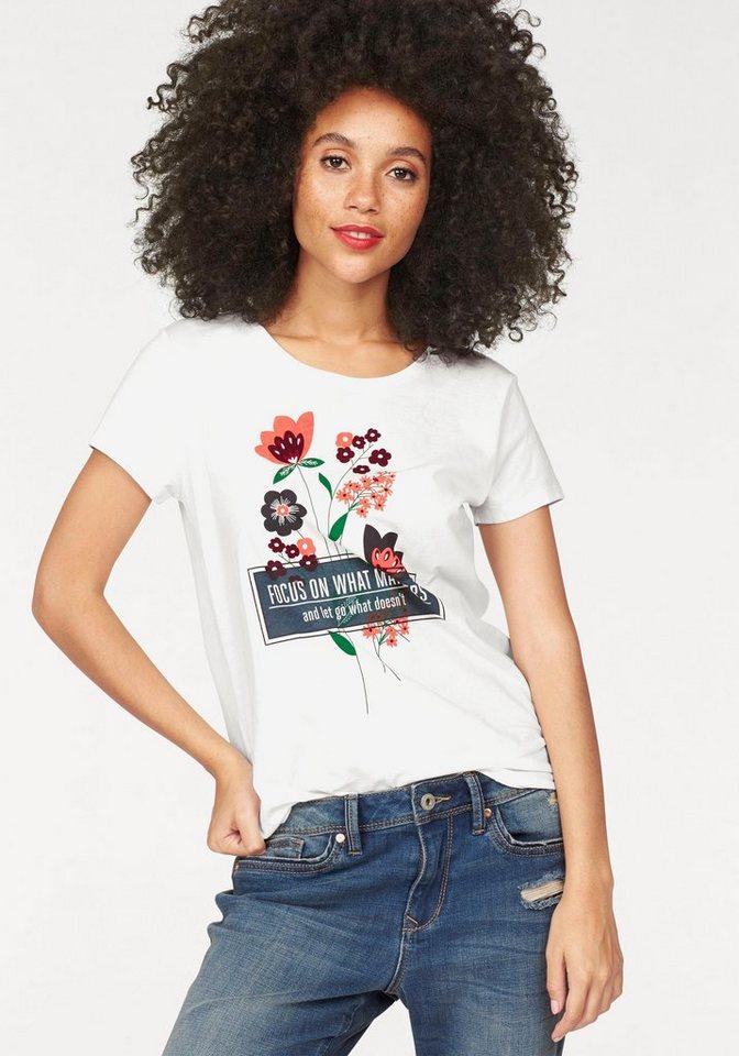 Tom Tailor Denim T-Shirt mit floralem Front- und Statement-Print in offwhite