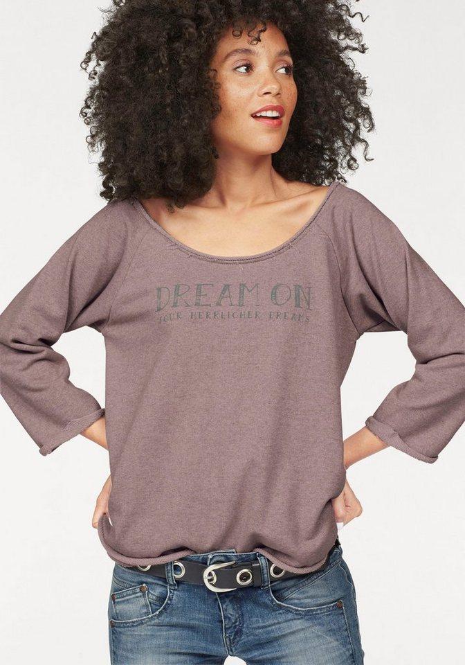 Herrlicher Sweatshirt »Benice« mit ausgefransten Kanten in altrosa