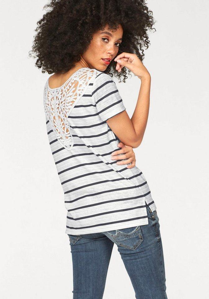 LTB Spitzenshirt »Sonase« mit rückseitigem Spitzendetail in creme-schwarz
