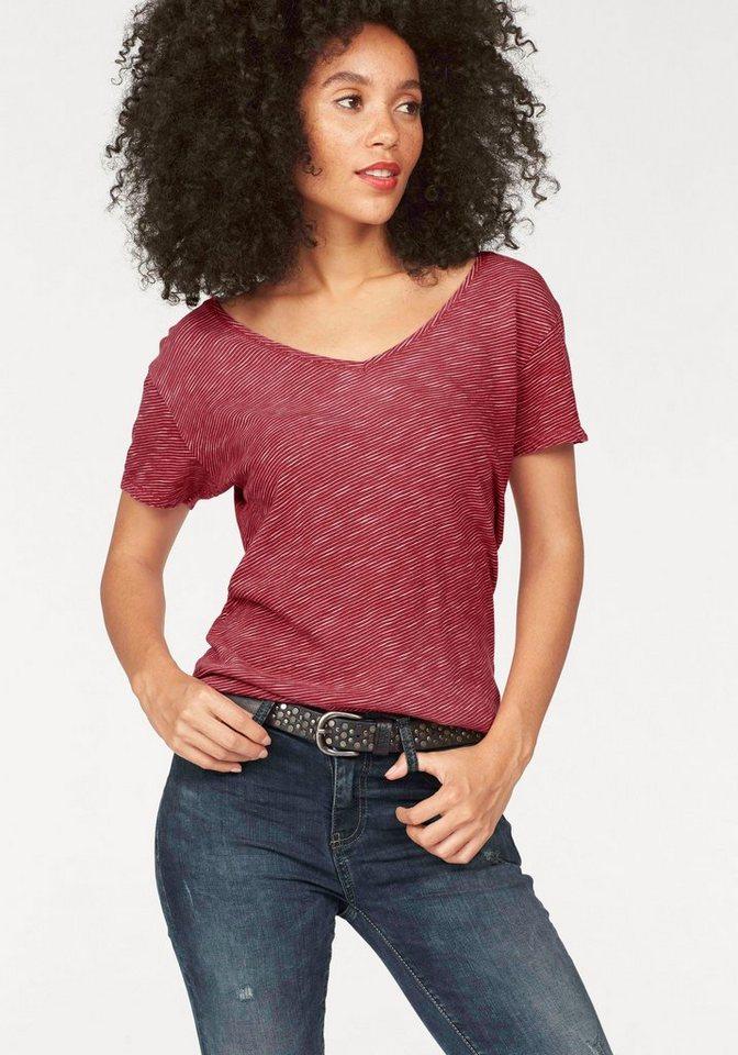 LTB T-Shirt »Rowofe« mit feinen Streifen in rot-weiß