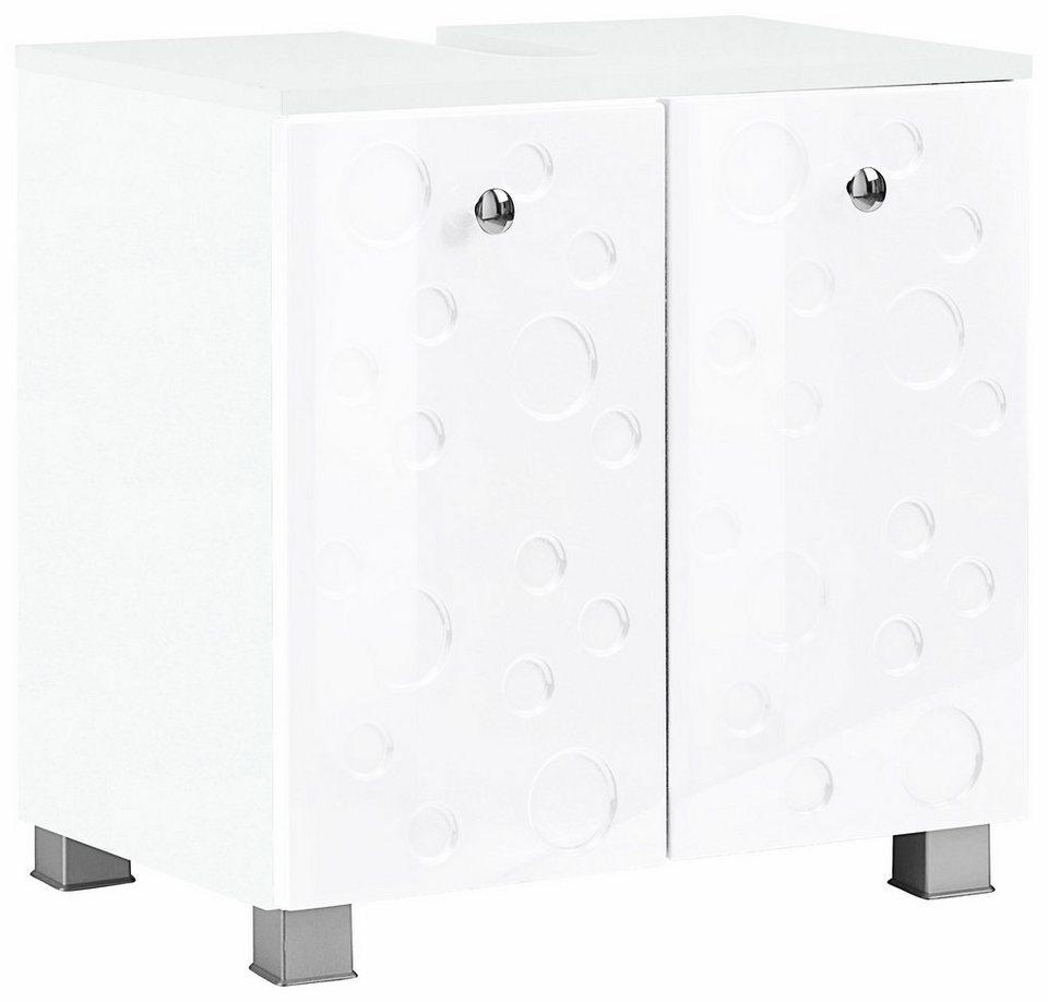 Held Möbel Waschbeckenunterschrank »Bubble« in weiß/weiß Hochglanz