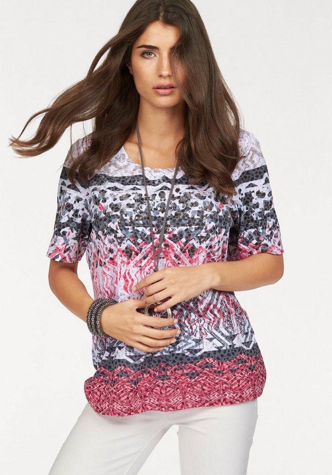 BONITA T-Shirt mit geometrischem Druck in weiß-rot-blau-grau