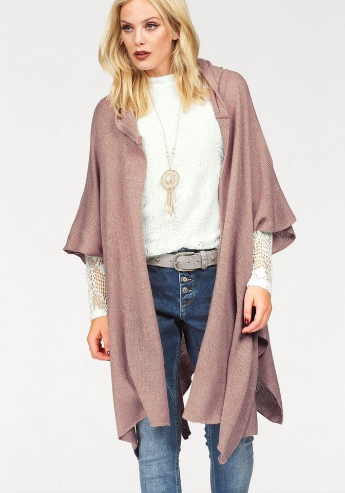 Cream Strickcape »NOA« mit Kapuze in rosé