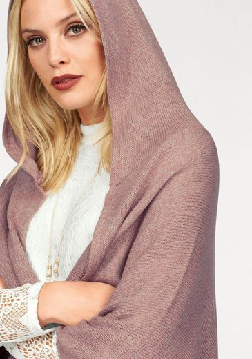Cream Strickcape NOA, mit Kapuze