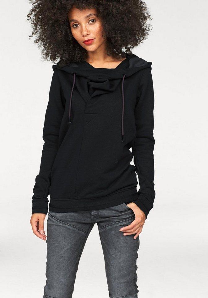 G-Star Kapuzensweatshirt »Xarin Slim« mit Wasserfallausschnitt in black