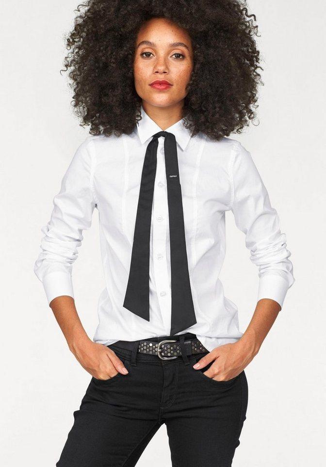 G-Star Hemdbluse »Core Slim« mit kontrastfarbenen Bindeband in weiß