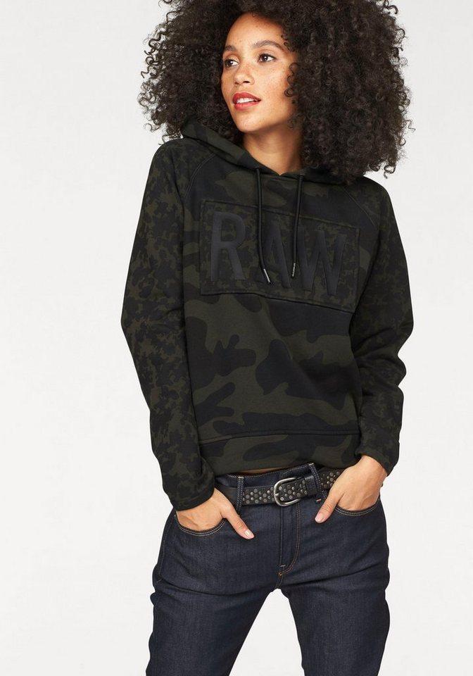 G-Star Kapuzensweatshirt »Sasil Straight« im Camouflage-Look in schwarz-khaki