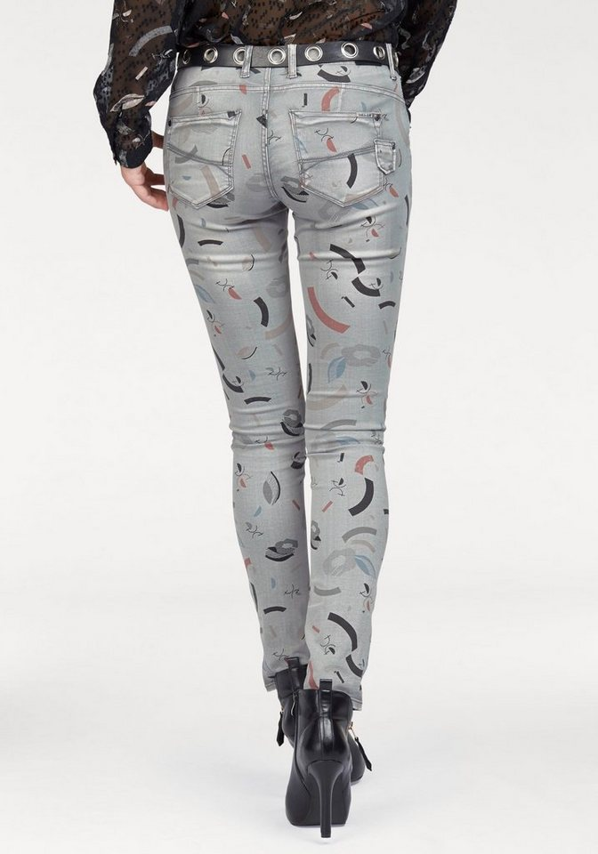 Garcia Slim-fit-Jeans »Riva« im graphischem Allover-Design in grey-denim