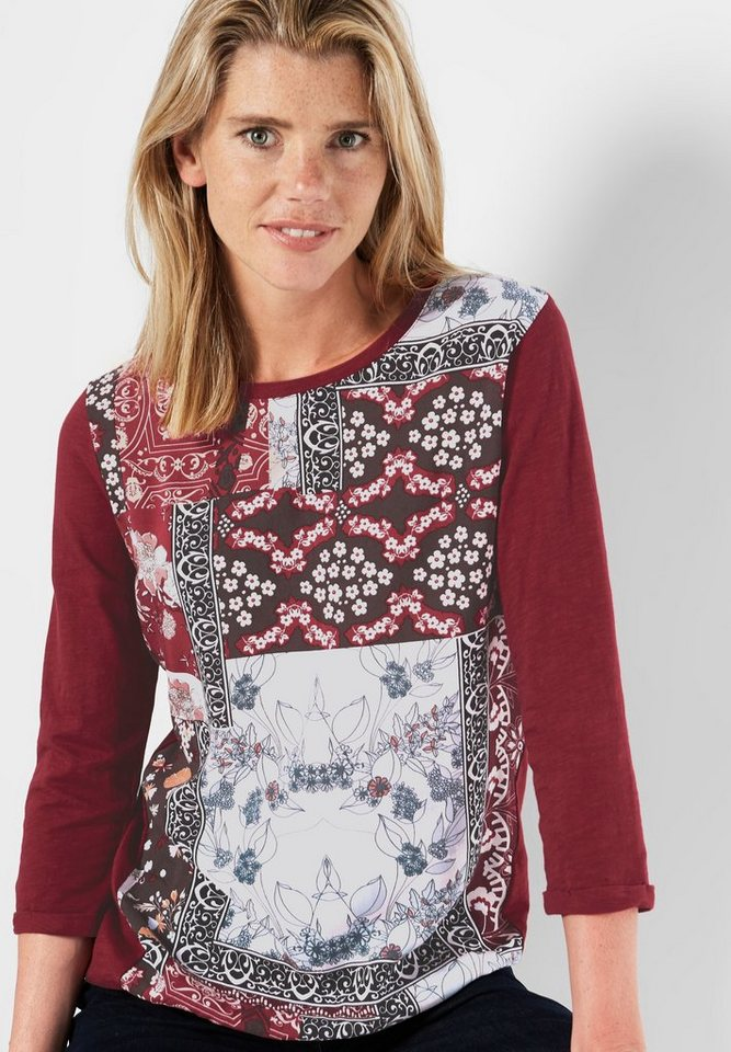 CECIL Shirt mit Ornamentprint in antique red