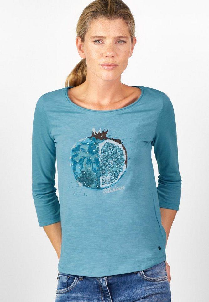CECIL Shirt mit Früchte-Print in glazed neptune blue